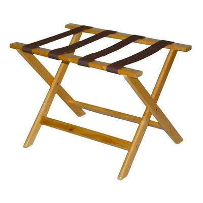 CSL 177LT-1 Luggage Rack w/ Brown Straps, Deluxe Wooden, Light Finish on Sale