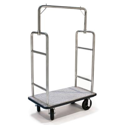 CSL 2599BK-010-GRY Upright Hotel Luggage Cart w/ Gray Carpet, Stainless on Sale