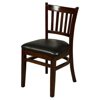 Oak Street WC102WA Vertical Back Dining Chair w/ Vinyl Seat & Beechwood Frame, Walnut Finish on Sale