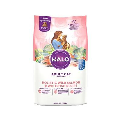 Halo Holistic Wild Salmon & Whitefish Recipe Adult Dry Cat Food, 3-lb bag