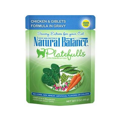 Natural Balance Platefulls Chicken & Giblets in Gravy Cat Food Pouches, 3-oz pouch, 24ct