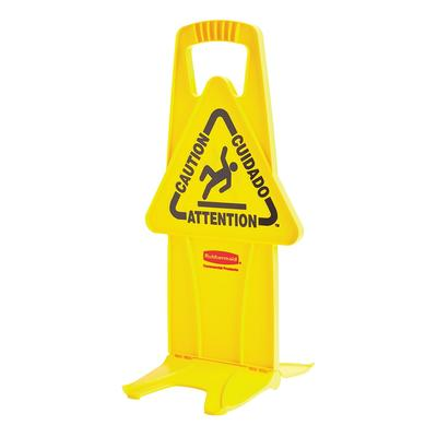 Rubbermaid FG9S09DPYEL 13 Stable Caution Safety Sign - Multi-Lingual, Triangular, Yellow on Sale
