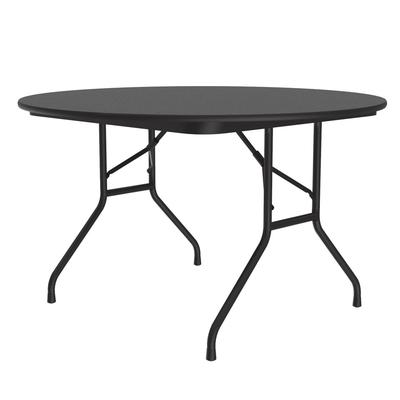 Correll CF48MR 07 48 Round Melamine Folding Table w/ 5/8 High Density Top, Black Granite on Sale