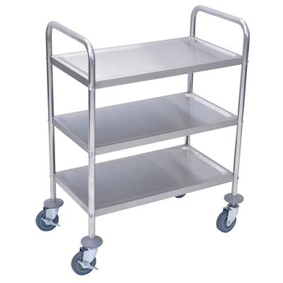 Luxor L100S3 3 Level Stainless Utility Cart w/ Raised Ledges on Sale