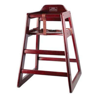 Winco CHH-103A 29 3/4 Stackable High Chair w/ Waist Strap - Wood, Mahogany