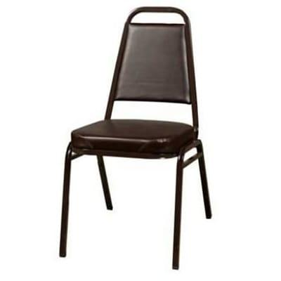 Oak Street SL2082-ESP Stacking Chair w/ Tapered Square Back, Vinyl Back & Seat, Brown on Sale