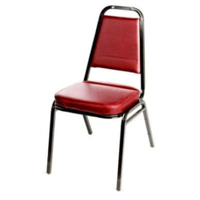 Oak Street SL2082-WINE Stacking Chair w/ Tapered Square Back, Vinyl Back & Seat, Wine on Sale