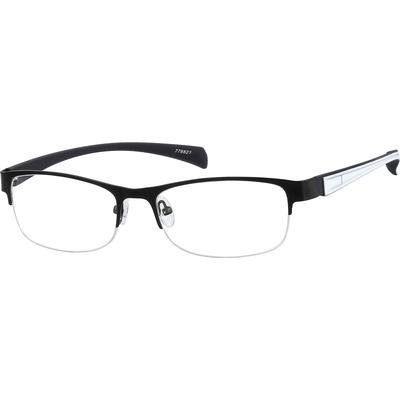 Zenni Oval Prescription Glasses Half-Rim Black Frame