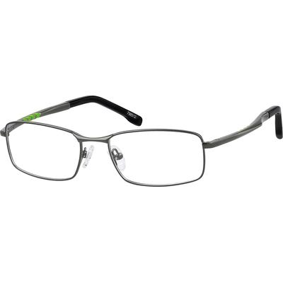 Zenni Men's Rectangle Prescription Glasses Gray Stainless Steel Frame