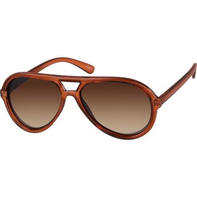 Zenni Women's Aviator Sunglasses Brown Plastic Frame