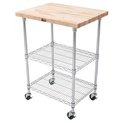 John Boos MET-MWC-2 Mobile Cart - Maple Top, Adjustable Shelves, 21x33x36, Chrome on Sale