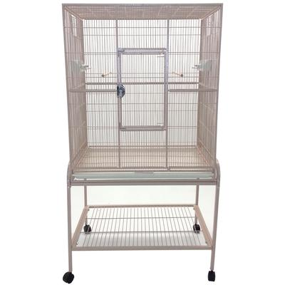 A perfect home for small to medium sized birds. Spacious cage has large door for easy access to your pet. Features vertical bars, 2 wooden perches, 2 feeder stations, and 4 easy rolling casters.