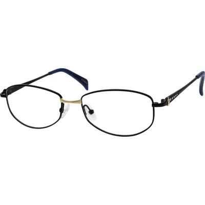 Zenni Women's Oval Prescription Glasses Black Titanium Frame