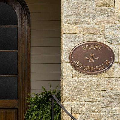 Designer Oval Wall Address Plaque - Black/Gold Plaque with Shell, 2 Lines, Standard - Frontgate