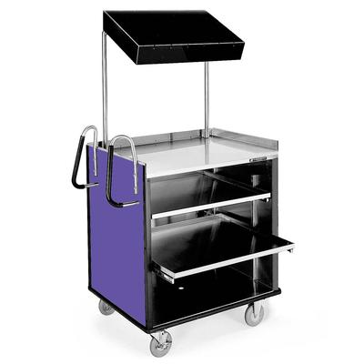 "Lakeside 660P 4 Shelf Stainless Steel Compact Vending Cart with Purple Laminate Finish - 28 1/4"" x 49"" x 72 1/4"""