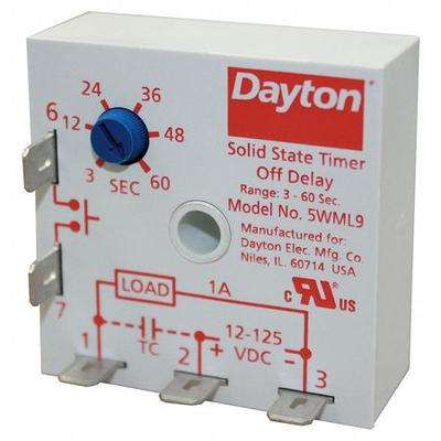 DAYTON 5WML9 Encapsulated Timer Relay,1A,Solid State