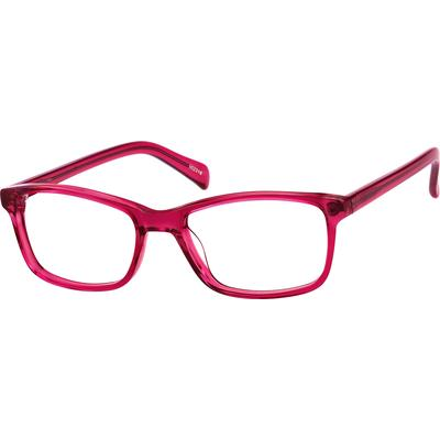 Zenni Womens Rectangle Prescription Glasses Red Frame Plastic 102318