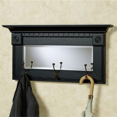 Dentil Pediment Wall Mirror Black , Black