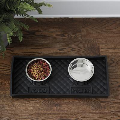 Quilted Rubber Pet Food Tray with Bowl Large - Ballard Designs