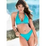 Embellished Halter TOP Push-Up Bikini Tops - Green/blue