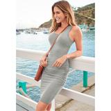 Ruched Tank Dress Dresses - Grey