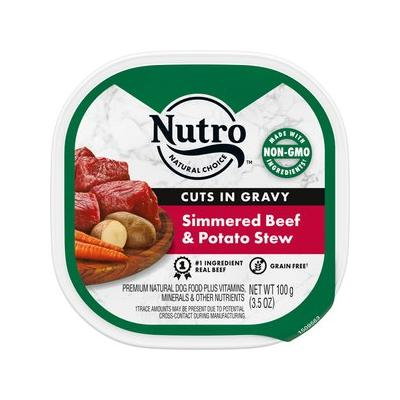 Nutro Simmered Beef & Potato Stew Cuts in Gravy Adult Dog Food Trays, 3.5-oz, case of 24; Watch your dog drool with delight over these Nutro Grain-Free Beef & Potato Stew dog food trays. This premium, grain free wet dog food is full of nutrients and...