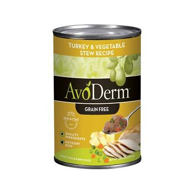 AvoDerm Natural Grain-Free Turkey & Vegetable Recipe Adult & Puppy Canned Dog Food, 12.5-oz, 12ct