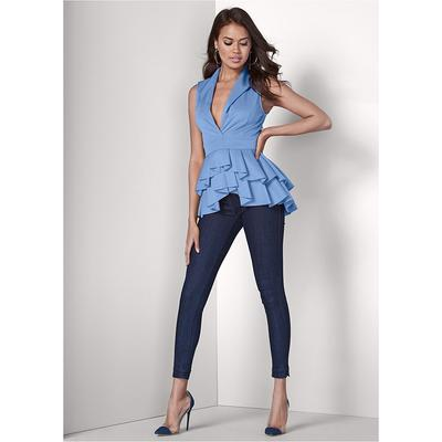 Mid Rise Slimming Stretch Jeggings Pants - Blue