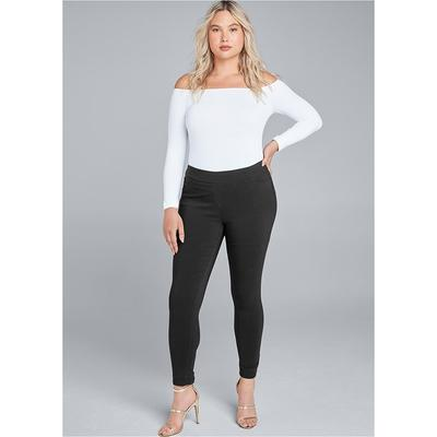 Mid Rise Slimming Stretch Jeggings Pants - Black