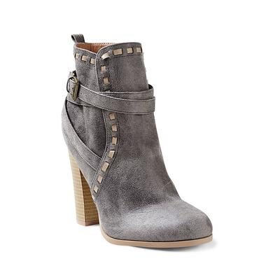 """Wrap Stitch Detail Booties - Grey"""