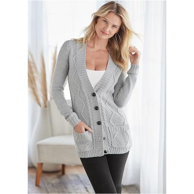 Extra Long Cardigan Sweaters - Grey
