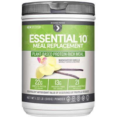 Designer Protein Essential 10 Meal Replacement 100% Plant Based Protein Madagascar Vanilla-540 grams Powder