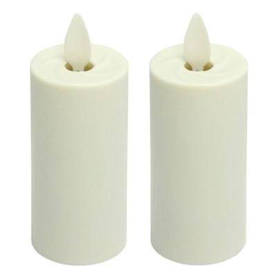 "Liown 17777 - 1.5"" x 3.5"" Ivory (Unscented) Straight Edge Battery Operated Moving Flame LED Matte Plastic Votive Candle with Timer (2 pack)"