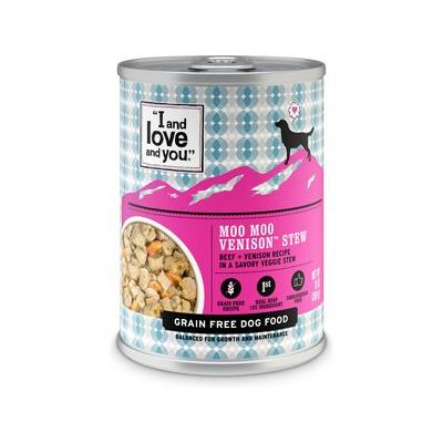 I and Love and You Moo Moo Venison Stew Grain-Free Canned Dog Food, 13-oz, case of 12