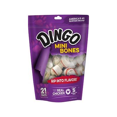 Dingo Mini Meat in the Middle Dog Rawhide Chews, 21 count