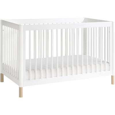 BabyLetto Gelato 4-in-1 Convertible Crib, Washed Natural Ft With Toddler Bed Conversion Kit in White