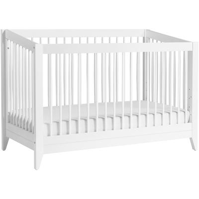 BabyLetto Sprout 4-in-1 Convertible Crib with Toddler Bed Conversion Kit in White Finish