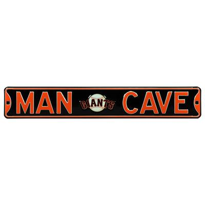 """Black San Francisco Giants 6"""" x 36"""" Man Cave Steel Street Sign"""