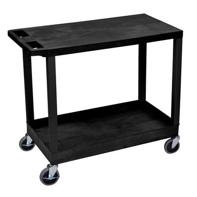 Luxor EC21-B 2 Level Polymer Utility Cart w/ 400 lb Capacity - Raised Ledges, Black on Sale