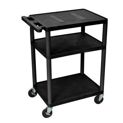 Luxor LE34-B 34 3 Level A/V Utility Cart w/ 400 lb Capacity - Plastic, Black on Sale