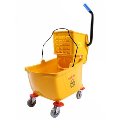 Clean Up T501-25 26 qt Mop Bucket w/ Side Press Wringer - Plastic, Yellow on Sale