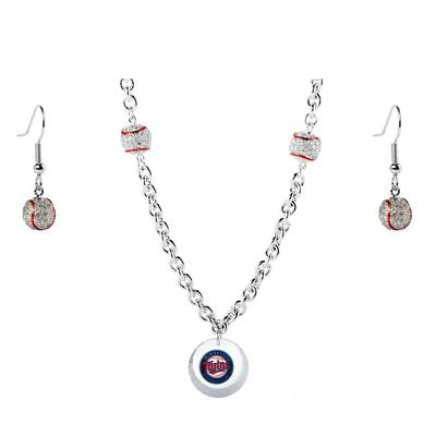 Minnesota Twins Crystals from Swarovski Baseball Necklace & Earrings