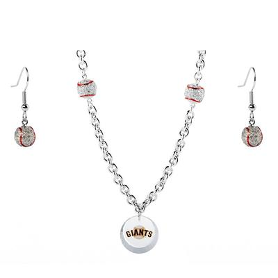 San Francisco Giants Crystals from Swarovski Baseball Necklace & Earrings