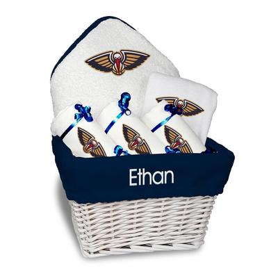 New Orleans Pelicans Newborn & Infant Personalized Medium Gift Basket - White
