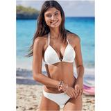 Enhancer Push UP Triangle Triangle Bikini Tops - White