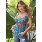 Embellished Print Tank Top Tops - Multi/Blue