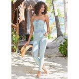 Lace UP Denim Jumpsuit Jumpsuits & Rompers - Blue
