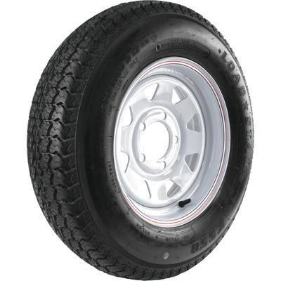 Kenda Loadstar Karrier 13 Inch Bias-Ply Trailer Tire and Wheel Assembly - ST175/80D-13, 5-Hole, Load Range D, Model DM175D3D-5CI, White