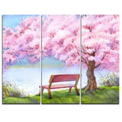 Design Art Bench Under Flowering Peach Tree 3 Piece Painting Print On Wrapped Canvas Set Canvas Fabric In Brown Green Pink Size Medium 25 32 Shefinds