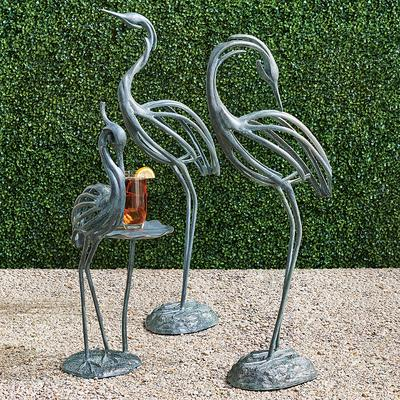 Stylized Heron Sculptures - 29-1/2H Heron with Lily Pad - Frontgate